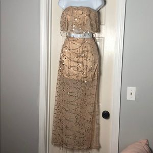 Sequin mesh nude and gold two piece set